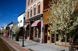 main street in Gunnison during the spring bloom