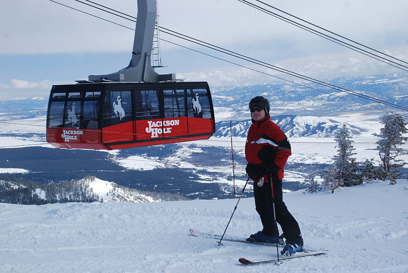 jackson hole ski vacation tram on cloudy day