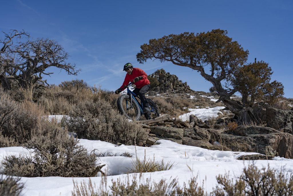 Fat biking in the snow at Hartman Rocks