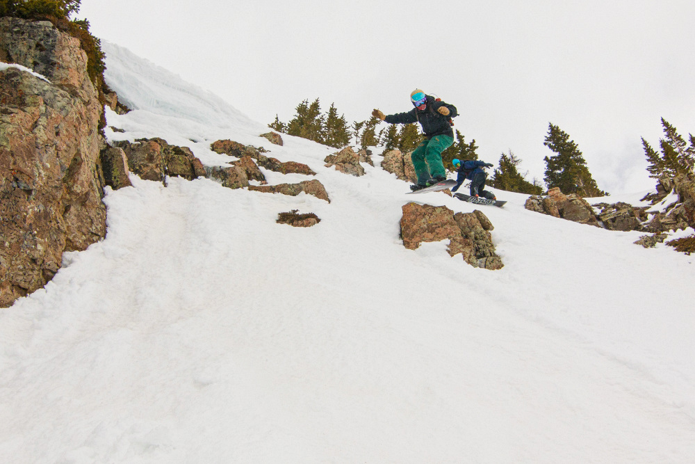 jibbing rocks at crested butte