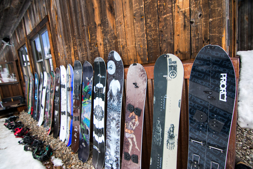 snowboard lineup in crested butte