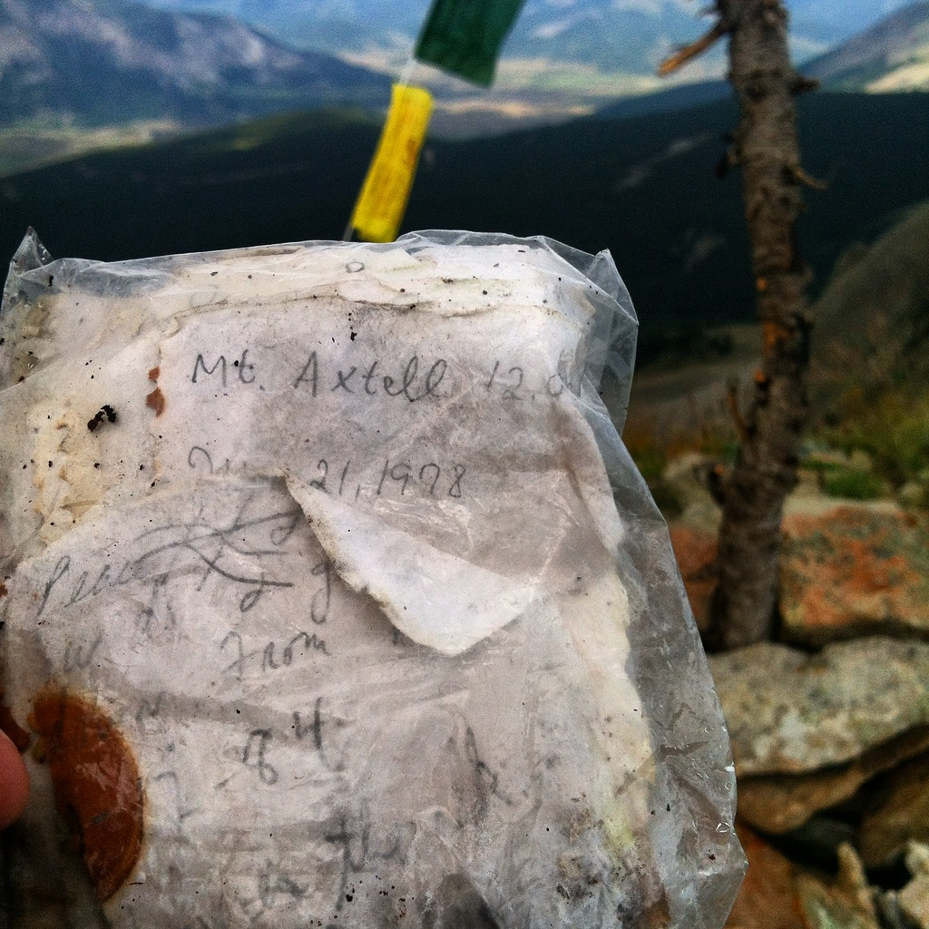 summit register of mt. axtell crested butte