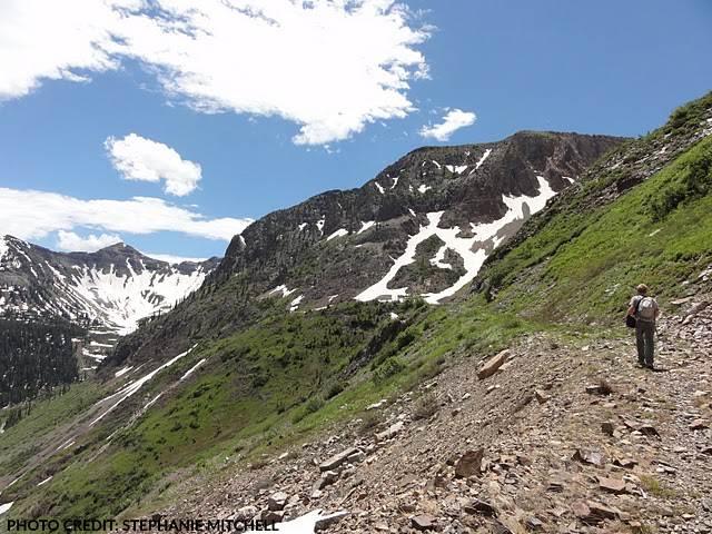 Hiker approaching Augusta Mine near Crested Butte, Colorado