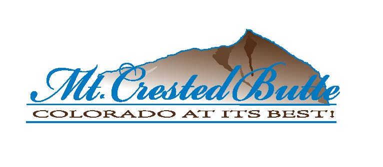 "Logo of a brown mountain with blue cursive text that says, ""Mt. Crested Butte."" Below that in black letters, it says ""Colorado at its best!"""
