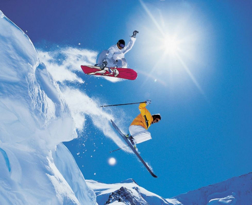 Warren Miller photo featuring skier and snowboarder