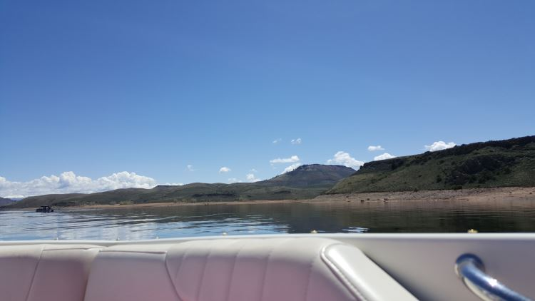 View from a boat on the Blue Mesa