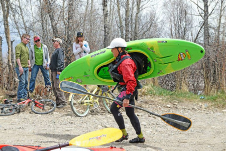kayaker in the Crested Butte Pole Pedal Paddle