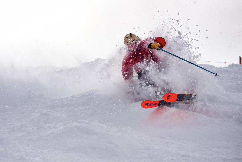 Skiing through deep snow in Crested Butte
