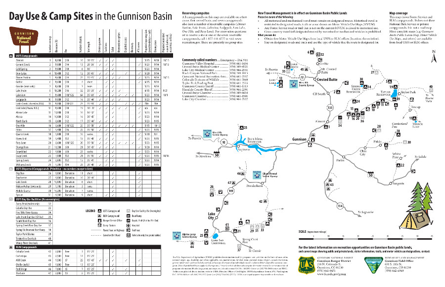 day use areas and campgrounds gunnison crested butte taylor park