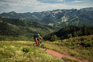 mountain biker on singletrack near Crested Butte, CO