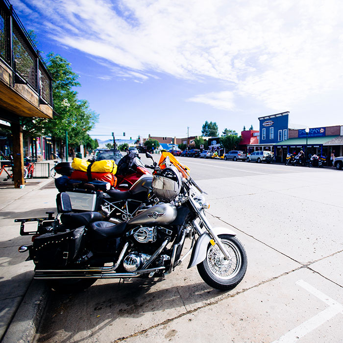 motorcycles parked on main street gunnison