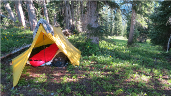 ultralight backpacking setup in crested butte backcountry