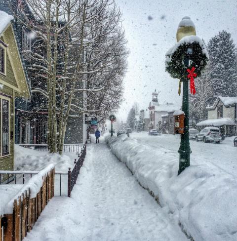 snowy Elk Avenue in Crested Butte
