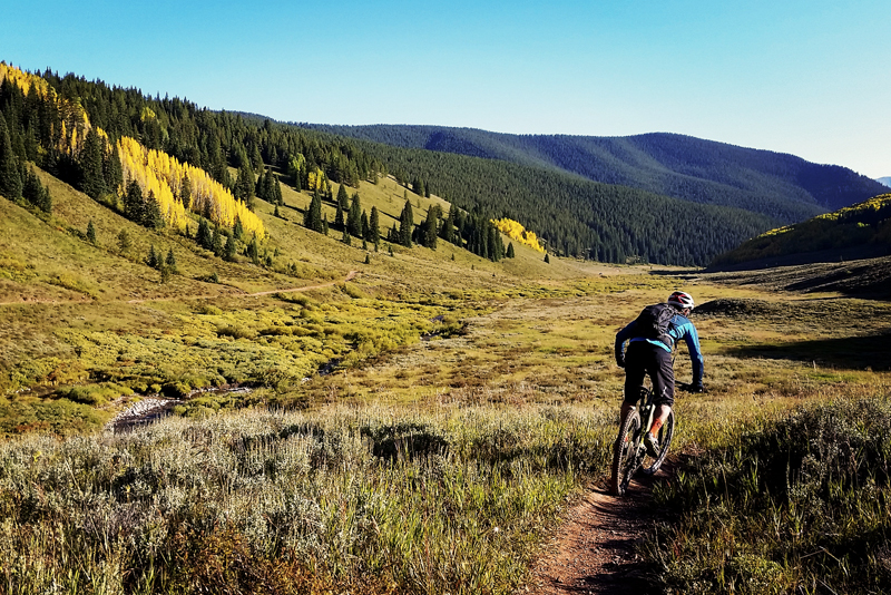 Crested Butte fall bikingpPhoto of a mountain biker descending a flowy singletrack trail into a valley with conifers and yellow-leaved aspen trees.