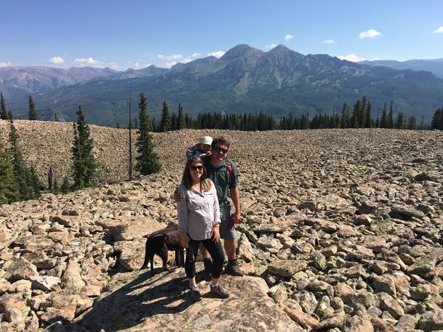kiddo and mom & dad hiking near Crested Butte, CO