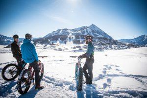 Fat biking in Crested Butte, Colorado in winter