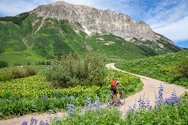 solo mountain biker on two-track near Gothic Mountain, Crested Butte, CO