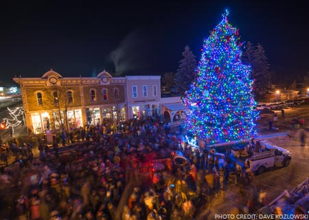 tree lighting in downtown Gunnison