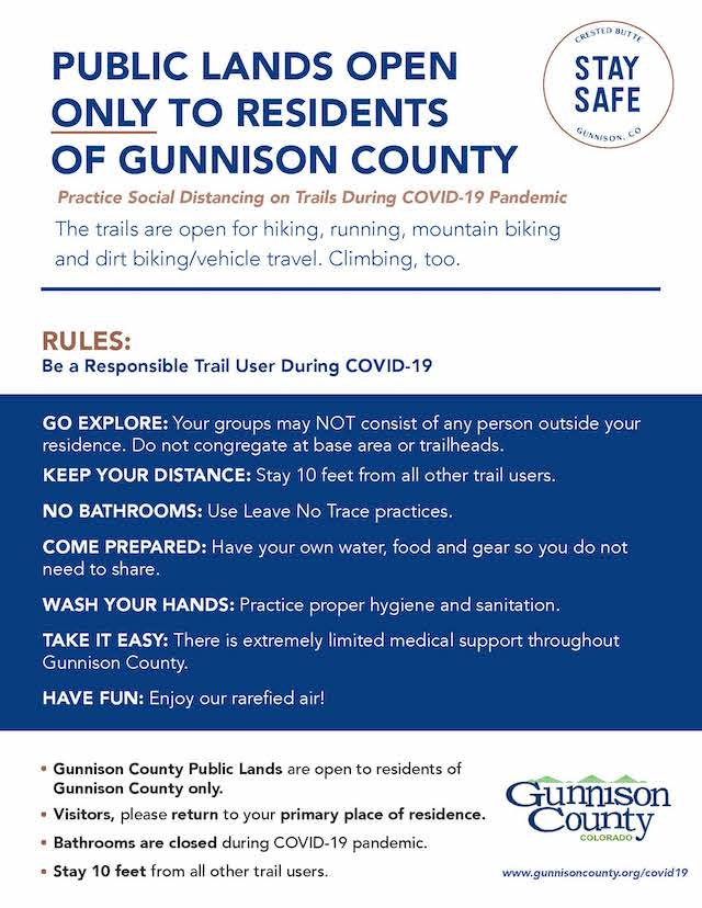 List of Gunnison County Trail Rules