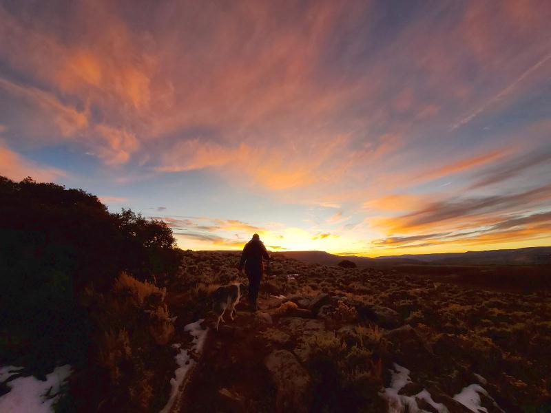 gunnison hiking at sunset at Hartman rocks