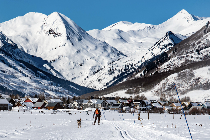 A man and a dog ski on a groomed Nordic ski trail with snowy peaks and houses in the background.