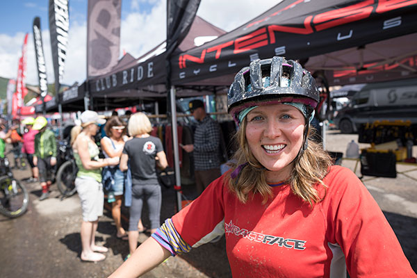 happy bike tester at outerbike in Mt. Crested Butte