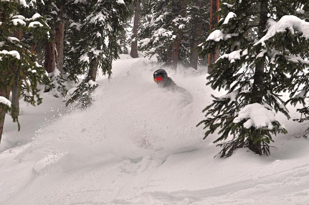 deep powder turn in Crested Butte
