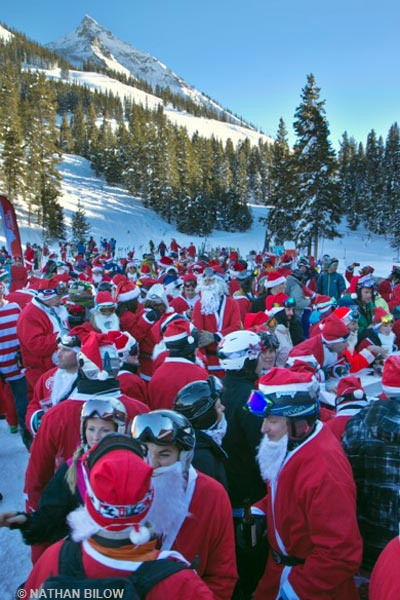 skiing santas, crested butte