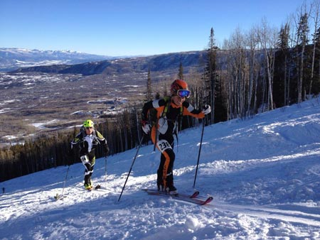 skinning up to train for the Grand Traverse