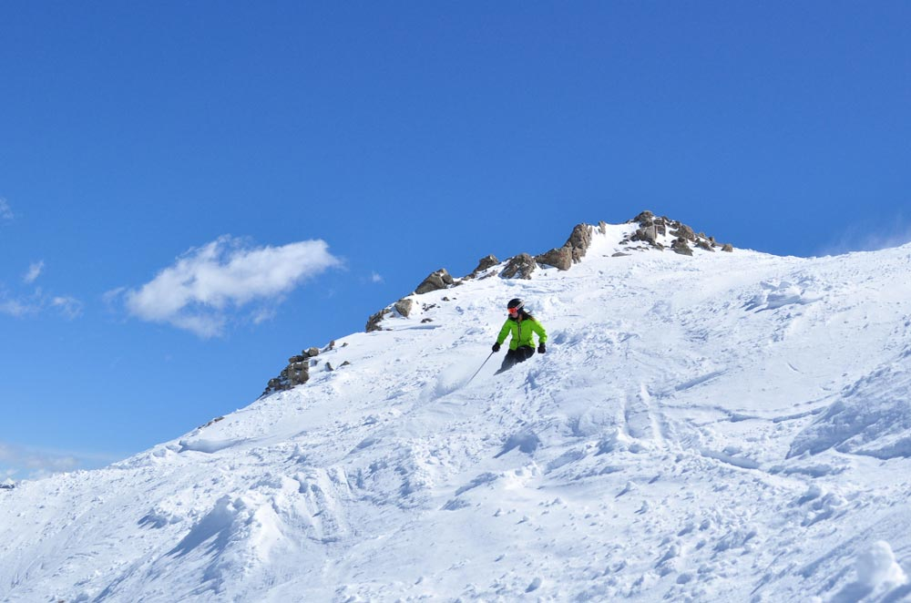 skiing Crested Butte on a sunny pow day
