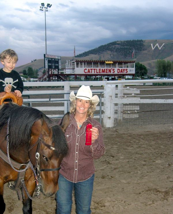 Barrel Racer with horse at Cattlemen's Days, Gunnison, CO