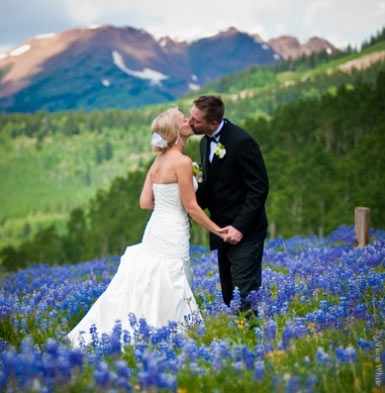 wedding in Crested Butte wildflowers