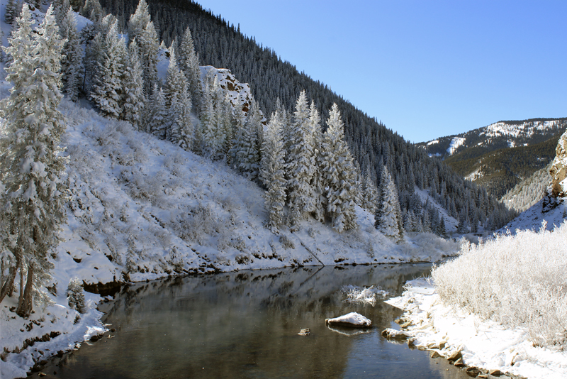 Photo of a winter fly fishing spot in the Gunnison area.
